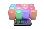 EcoGecko Set of 12 Indoor/Outdoor Remote Controlled Plastic Resin LED 12 Rainbow Color Changing Votive Candles-Batteries Included