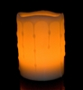Round Melted Edge with Wax Drip Effect Self Timer Flameless Wax Pillar Candle - 4 Inch Tall