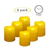 "Candle Choice Flameless LED Battery Votive Candles with Timer Realistic Flickering Battery Operated Indoor Outdoor Candles Size-1.5""(D)x2""(H) with Waved Edge Long Lasting Batteries Included 6-Pack"