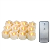 "Candle Choice 12-Pack Realistic Flameless Tealight Candles Battery Operated LED Tealights with Remote 1.5""x1.5"" w Natural looking Wax Drips Party Wedding Birthday Holiday Home Décor Centerpiece Gift"