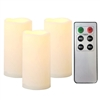 "Set of 3 Candle Choice Outdoor Indoor Pillar Flameless LED Battery Operated Candles with Remote and Timer Long Lasting Waterproof Realistic Flickering Electric Pillar Candles 3-Pack Size-3""(D)x6""(H)"