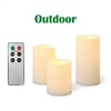 Candle Choice 3 Piece Outdoor Flameless Candles with Remote Timer Plastic Realistic Flickering Battery Operated LED Pillar Melted Edge Party Wedding Birthday Home Holiday Décor Gifts 3 Pack